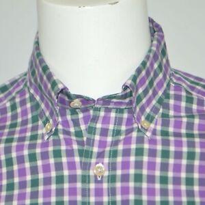 VINEYARD VINES Slim Fit Murray Cotton Purple Green Plaid Casual Shirt Sz M