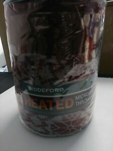 Biddeford Heated Electric Warming Micro Plush Burgundy-Gray Throw Blanket-NWT