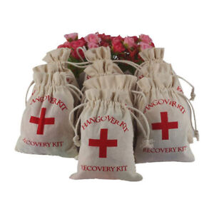 20pcs Hangover Survival Kit Rustic Linen Bags Cotton First Aid Hen Stag Do Party