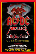 Monsters of Rock: Ac/Dc, Motley Crue, Metallica , Queensryche Concert Poster