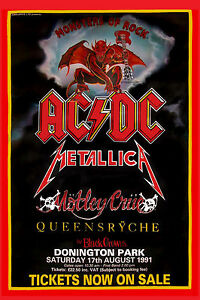 Monsters of Rock: AC/DC, Motley Crue, Metallica , Queensryche Poster    12x18