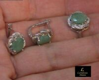 6.8 ct High Quality Earrings Emerald & Ring Set