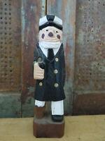 Wood Carved & Painted Folk Art Sea Ship Captain w wooden peg leg Beachy Decor