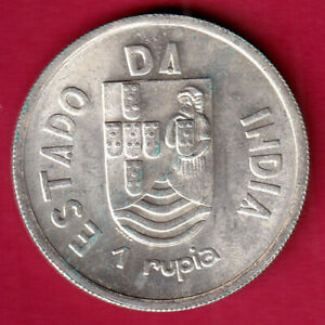 Portuguese India Goa excellent condition 1935 unc One Rupee Rare Silver coin#IE1