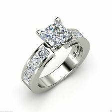 1.93 cts Princess Cut Diamond Engagement Solitaire Ring Solid 14k White Gold