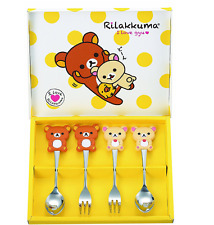 New San-x Rilakkuma Tableware spoon & fork 4 piece set  KAWAII JAPAN Brown bear