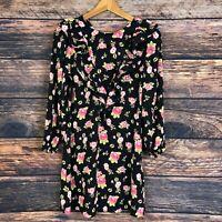ZARA Women's Black Short Floral Ruffled Summer Mini Dress Size S