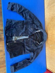 Levis Mens Denim Commuter Trucker Jacket with Collapsable Hidden Hood Size Large