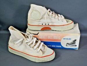 1960 Vintage Canvas Basketball Shoes Sneakers China Shanghai Made by FORWARD 6.5