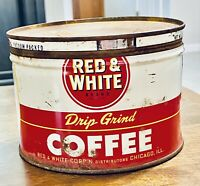 Vintage Red & White Coffee Corp Chicago Drip Grind Coffee Tin w/lid