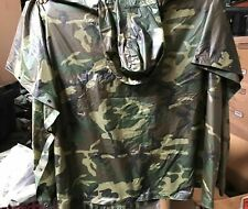 Genuine Us Military Wet Weather Poncho Usgi Woodland Camo Nsn 8405-01-100-0976