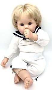 """Lee Middleton Realistic 18"""" Baby Boy Doll By Reva #031999 Thumb Sucker Eyelashes"""