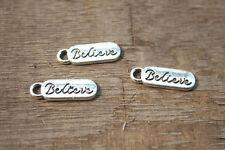 30pcs- Antique Tibetan Silver Believe Charms Pendants, Believe 19x6mm