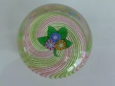 Perthshire Paperweight 1977A Miniature Nosegay on Multi Ribbon Swirl LE EC