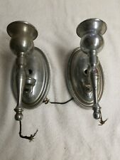 Vintage Silver Metal Wall Sconce Candlestick Holders Pair Candle Holders
