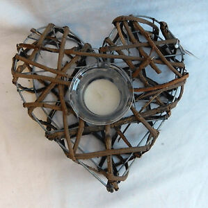 Heart - Hand Made Shabby Chic / Rustic Twig Tea Light / Candle Holder - BNWT
