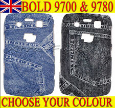 DENIM JEANS TEXTURED FASHION DESIGN CASE COVER For Blackberry Bold 9700 & 9780