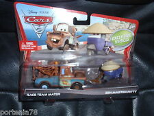 Disney Cars 2 Movie Moments RACE TEAM MATER & ZEN MASTER PITTY with mustache
