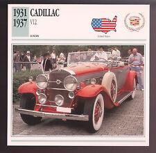 1931-1937 Cadillac V12 Town Cabriolet Car Photo Spec Sheet Info Stat ATLAS CARD