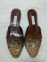 Oscar de la Renta Womens US 8 Flats Slip-on Velvet Embroidered Made in Spain