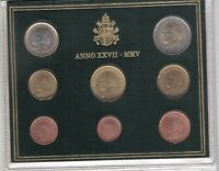 VATICAN 8 DIF UNC COINS SET 0.01 - 2 EURO 2005 YEAR POPE JOHN PAUL II MINT PACK