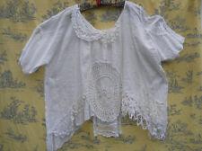 Ritanotiara Taille unique Vintage Crochet shirt Top Quirky Funky Blanc Lagenlook Prairie
