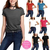 Womens Round neck T Shirt SHORT SLEEVE Casual Comfort Basic Tee Plain Cotton