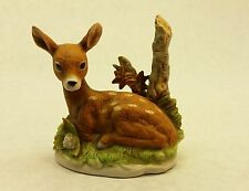 Homco Resting Fawn Baby Deer - Realistic Porcelain Ceramic Figurine