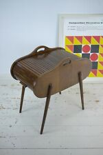 Vintage Mid Century Retro Roll Top Tambour Sewing Cabinet Box Handle Storage