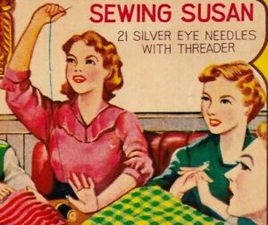 Vintage Sewing Needle Books - Sewing Susan Silver Eye Needles & Threader