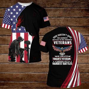 Veteran US Army God Eagle American Flag T-Shirt Men's Size S-3XL
