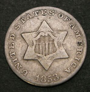 USA 3 Cents 1853 - Silver - 623