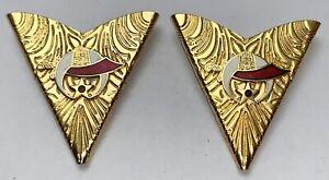 Vintage Masonic Shriners Logo Gold Tone Western Shirt Collar Tips Jewlery