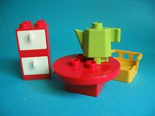 Lego Duplo Möbel Schrank Tisch mit Kaffeekanne und 2 Sessel fürs Puppenhaus