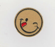 Smiley Face Patch iron on or sew on 4.7cm wide  Beige/ RED /black NEW
