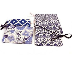Indigo Dyed Blue Cotton Clutch Bag With Zipper, Accessories Bag Cosmetic Bag