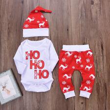 3pcs Navidad Ciervo Copos de Nieve Bebé Bebé Niño Niña Pelele Pantalones  Gorro ea2667239dde