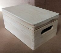 Unfinished small pine wood wooden crate DD168 with hinged lid box clothing