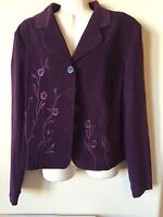 NWT Spago Eggplant Embroidered Floral 2pc Jacket Skirt Women's Suit Set Size 14