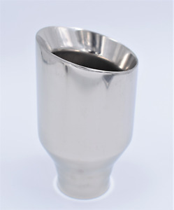 """High Grade 4"""" Angle Cut Sport Exhaust Tip Silver Stainless Steel Double Wall"""