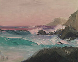 PACIFIC TONES Original Expression Art Seascape Oil Painting 8x10 091020 KEN