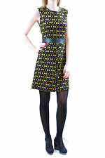 Ana Alcazar Damen Elegante 60er Armelloses Kleid Schwarz/Gelb Größe 38 BCF511