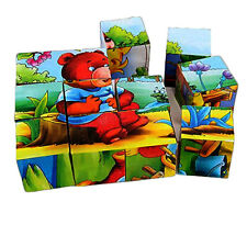 Kids 6 Puzzles In 1 Cube Puzzle Animal Design Educational Block Toy Cubes