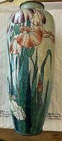 """Tall Antique Meiji Japanese Foil Cloisonne Vase.  Irises. 12""""h, 4.5""""w."""