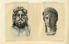 1895 ANCIENT ROMAN JUPITER ZEUS OF ORTICOLI and JUNO LUDOVISI Llithograph Print
