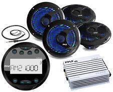 "Pyle Bluetooth USB Round Radio, Antenna, 6.5"" Multi LED Boat Speakers, Amplifier"