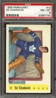 1958-59 PARKHURST #12 ED CHADWICK PSA 8 MAPLE LEAFS NICELY CENTERED  *DS7733