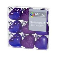Christmas Tree Decoration 9 Pack 40mm Shatterproof Heart Baubles - Purple