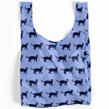 NEW BAGGU Standard Reusable Bag **JAPAN EXCLUSIVE** CAT Light+Dark Blue Cats