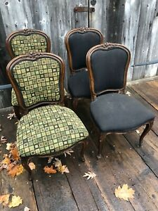 4 Antique 19th Century French Side Chairs, Great Quality and Design